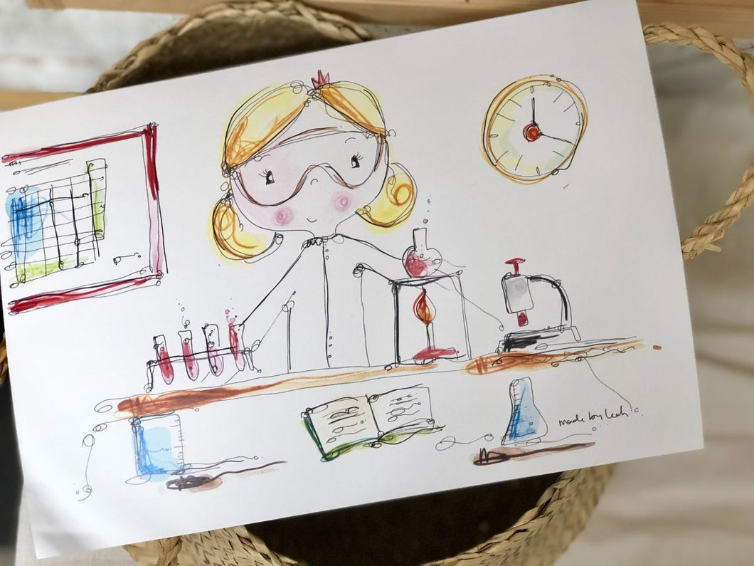 GIRL doing science art print