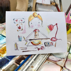 GIRL doing art card