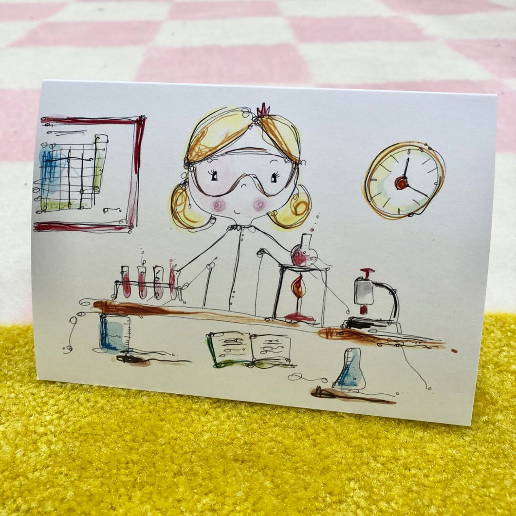 GIRL doing science card