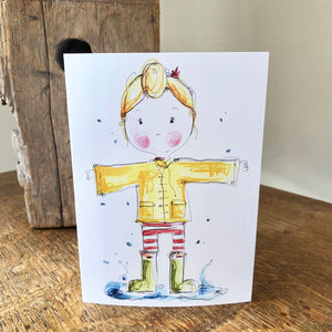 GIRL raincoat card