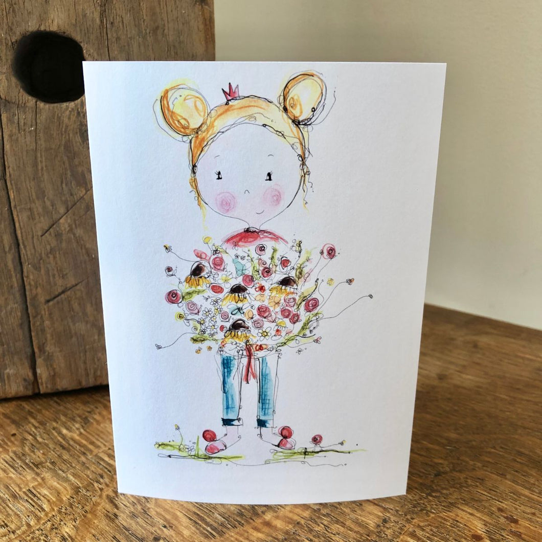 GIRL bunch of flowers card