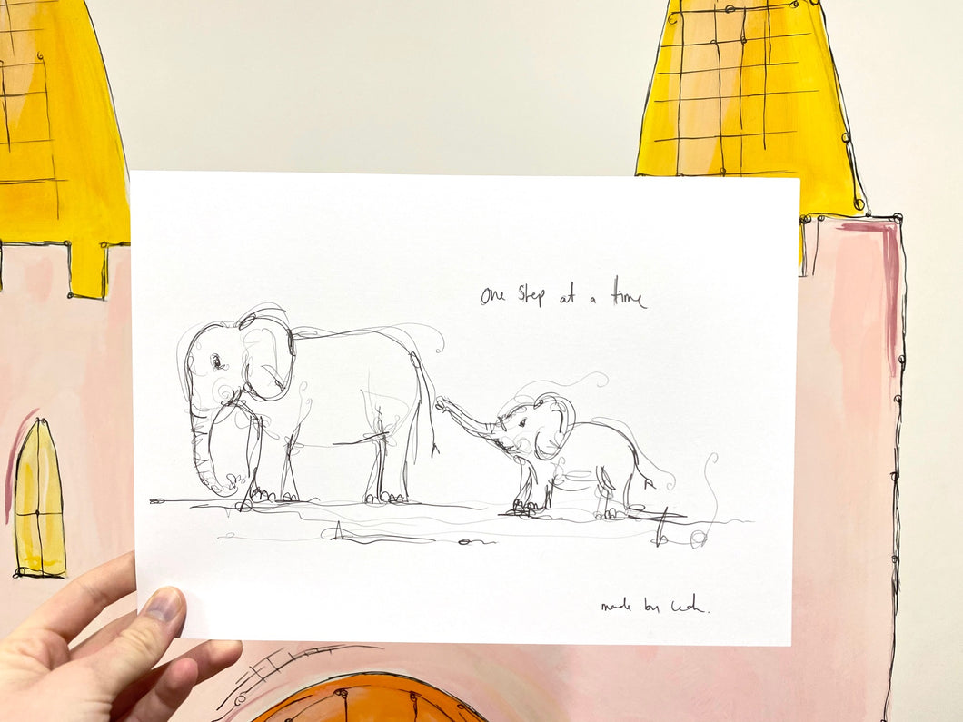 Elephants sketch one step at a time art print