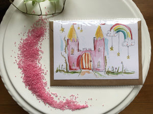 Pink castle card