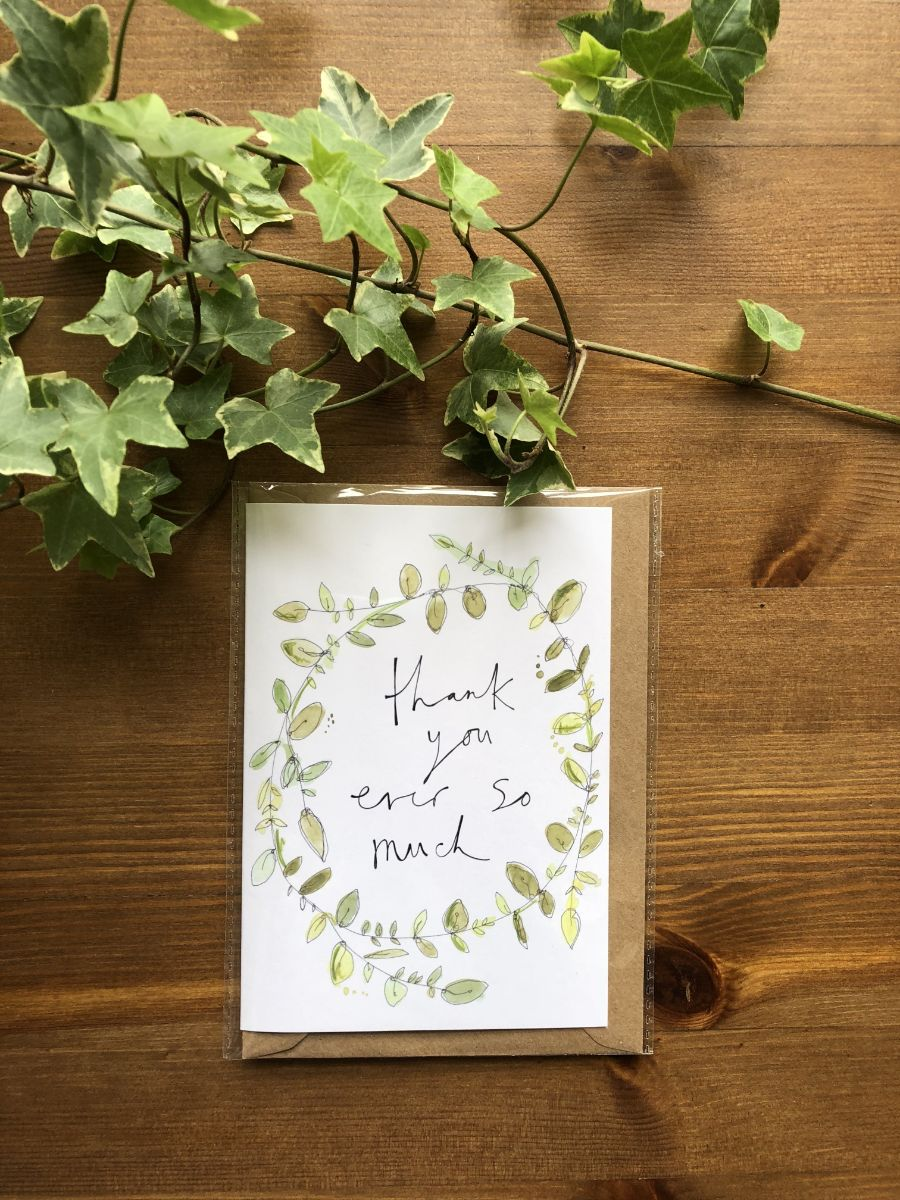 Thank you greenery card