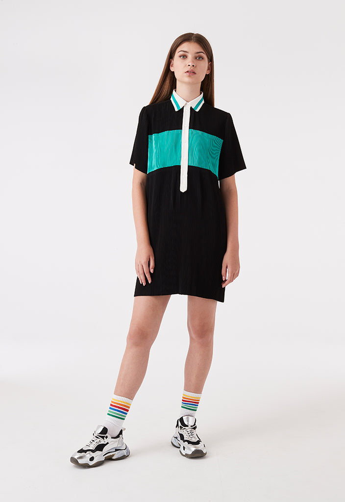 Electric Pleated Color Block Dress - Fresqa