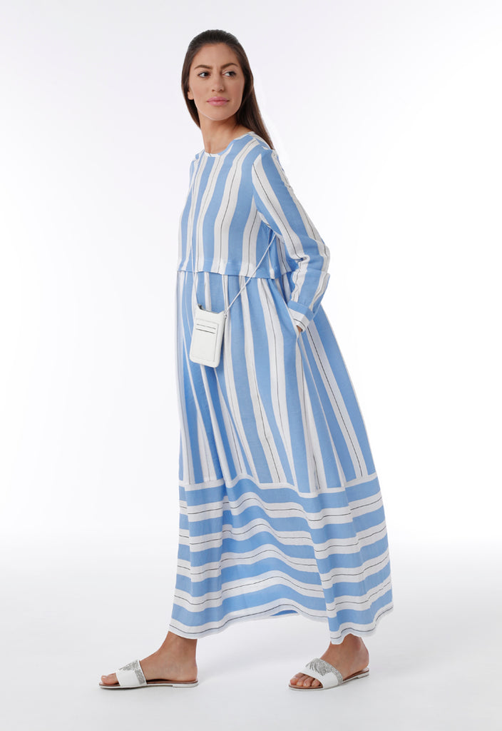 A-Line Striped Pattern Dress - Fresqa