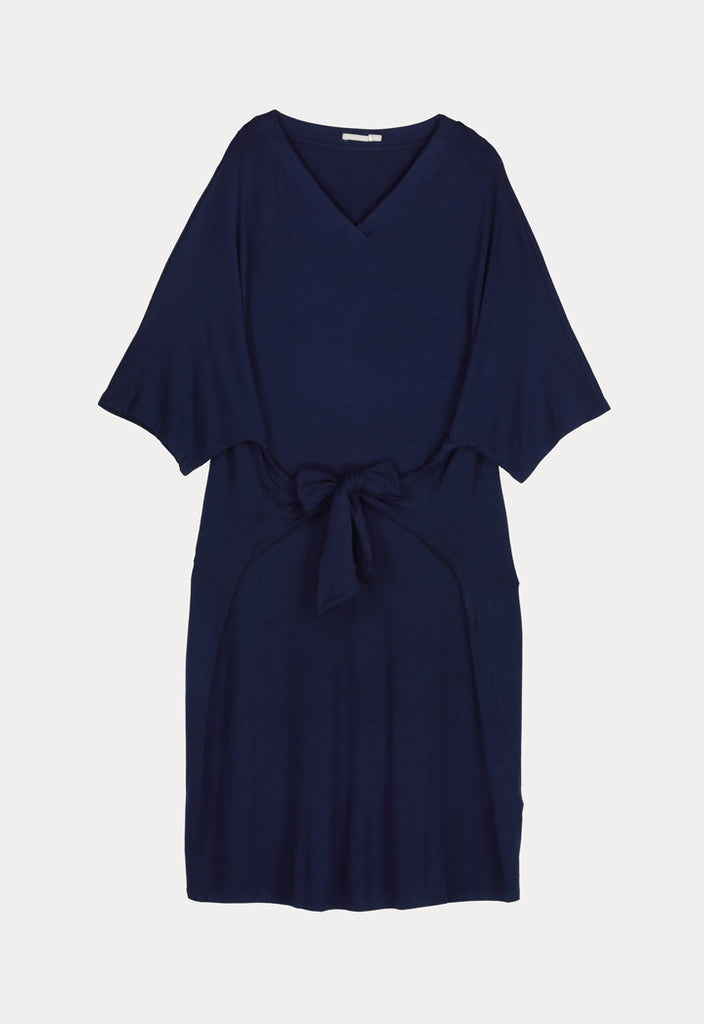 Solid V-Collar Dress - Fresqa
