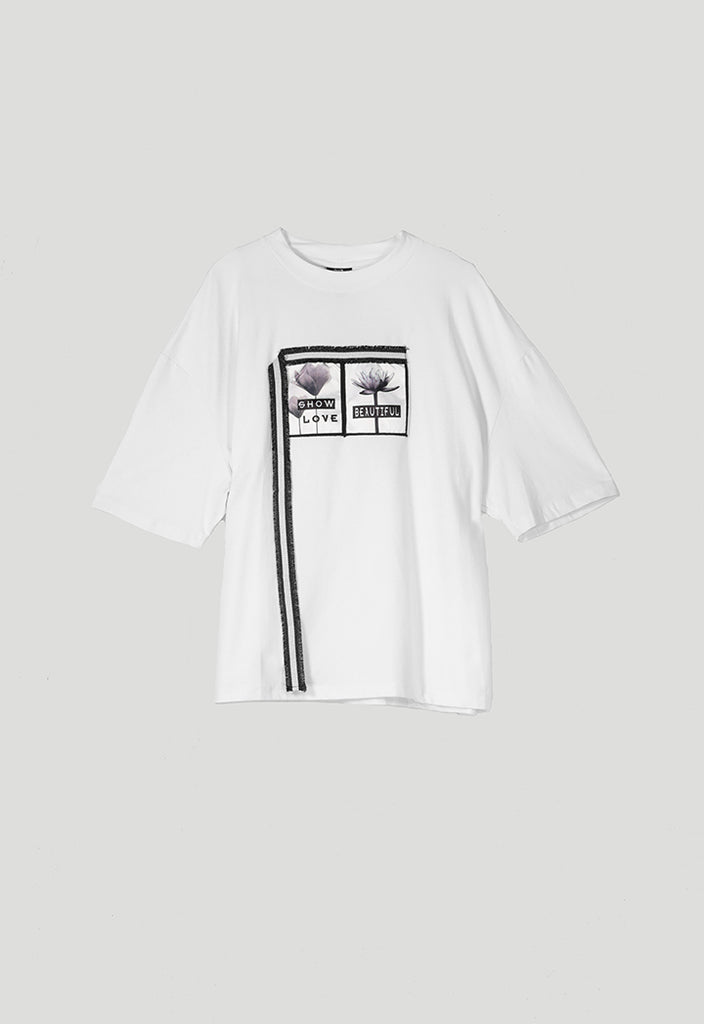 Front Patch White T-Shirt - Fresqa