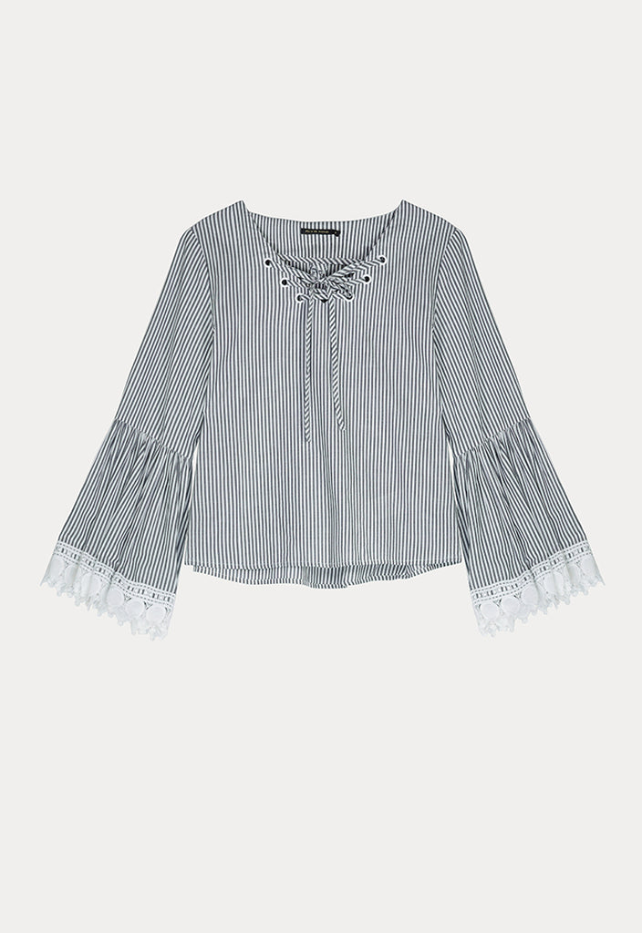 Striped Lace Tie Blouse - Fresqa