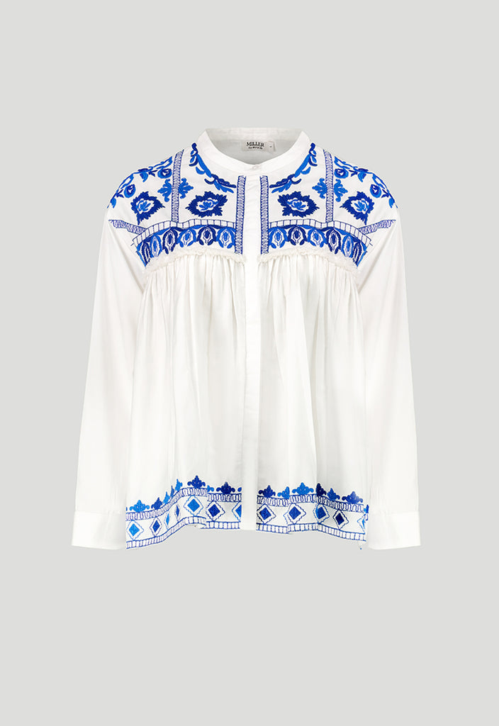Poplin Embroidered Blouse - Fresqa