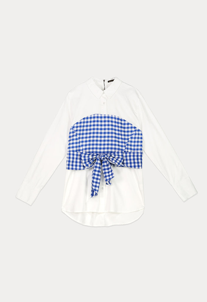 Checked Waist Panel Shirt - Fresqa