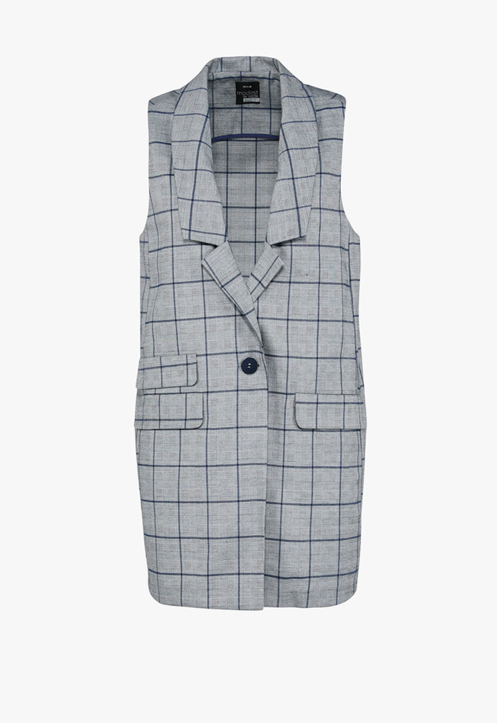 Sleeveless Checkered Outerwear - Fresqa