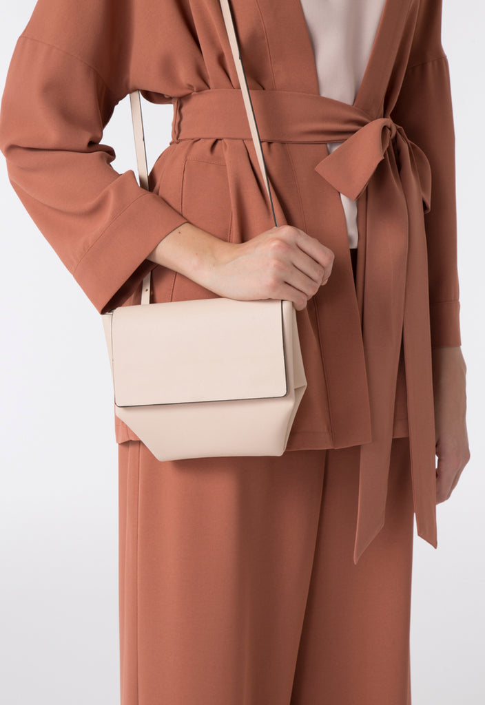 Beige Flap Up Sling Bag - Fresqa
