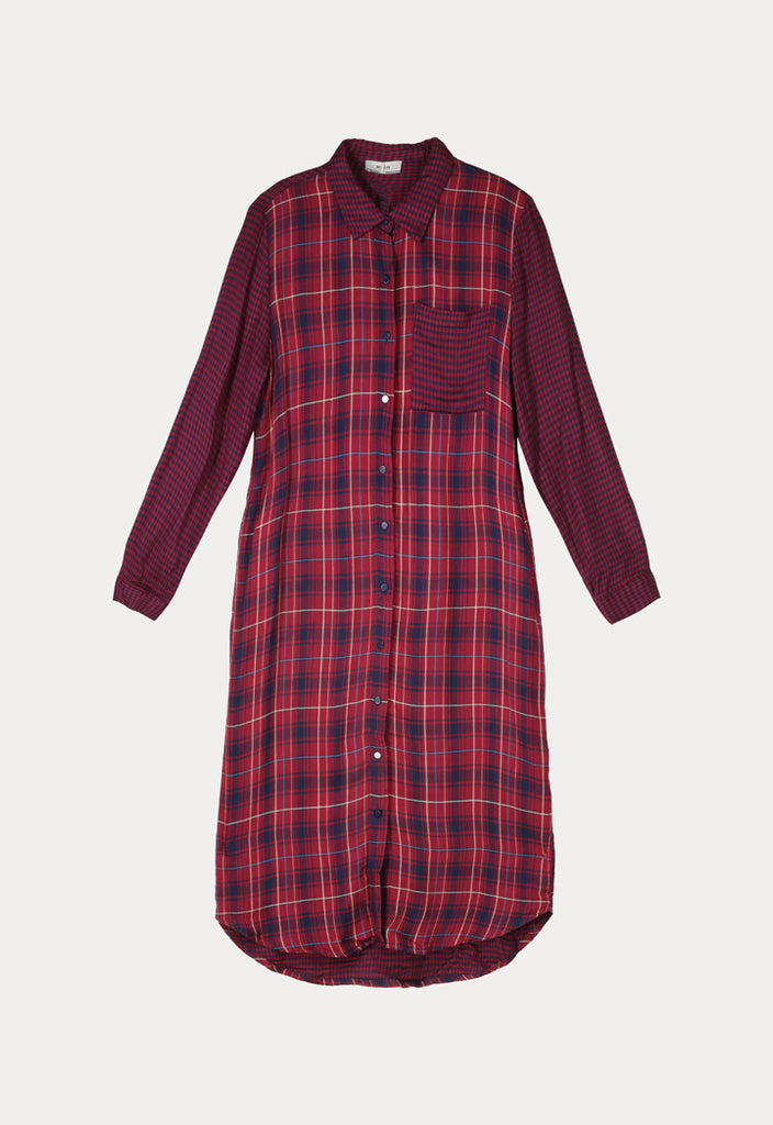Woolen Checkered Shirt Dress - Fresqa