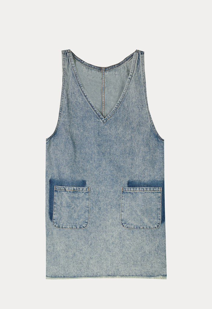 Sleeveless Denim Short Dress - Fresqa