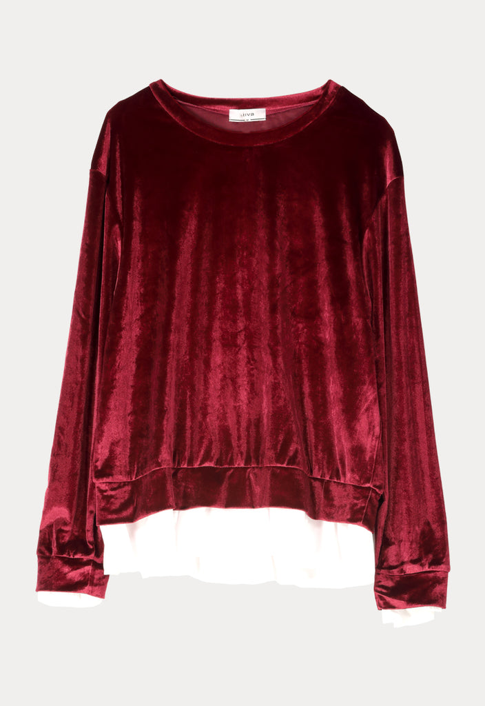 Long Sleeves Frilled Velvet - Fresqa