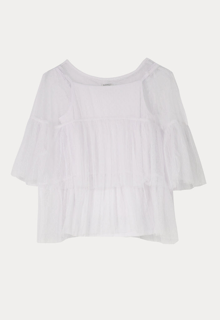 Sheer Lace Gathered Blouse - Fresqa