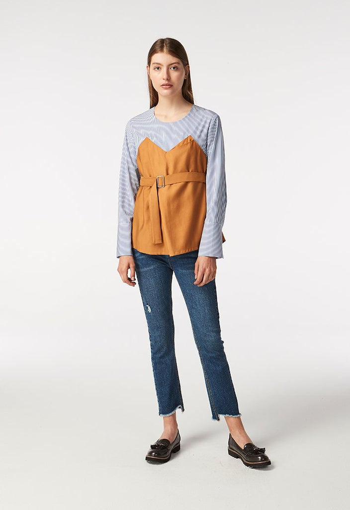 Layered Stripe Blouse - Fresqa