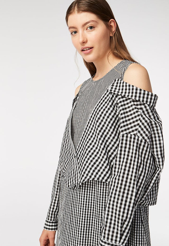 Checkered Cold Shoulder Blouse - Fresqa