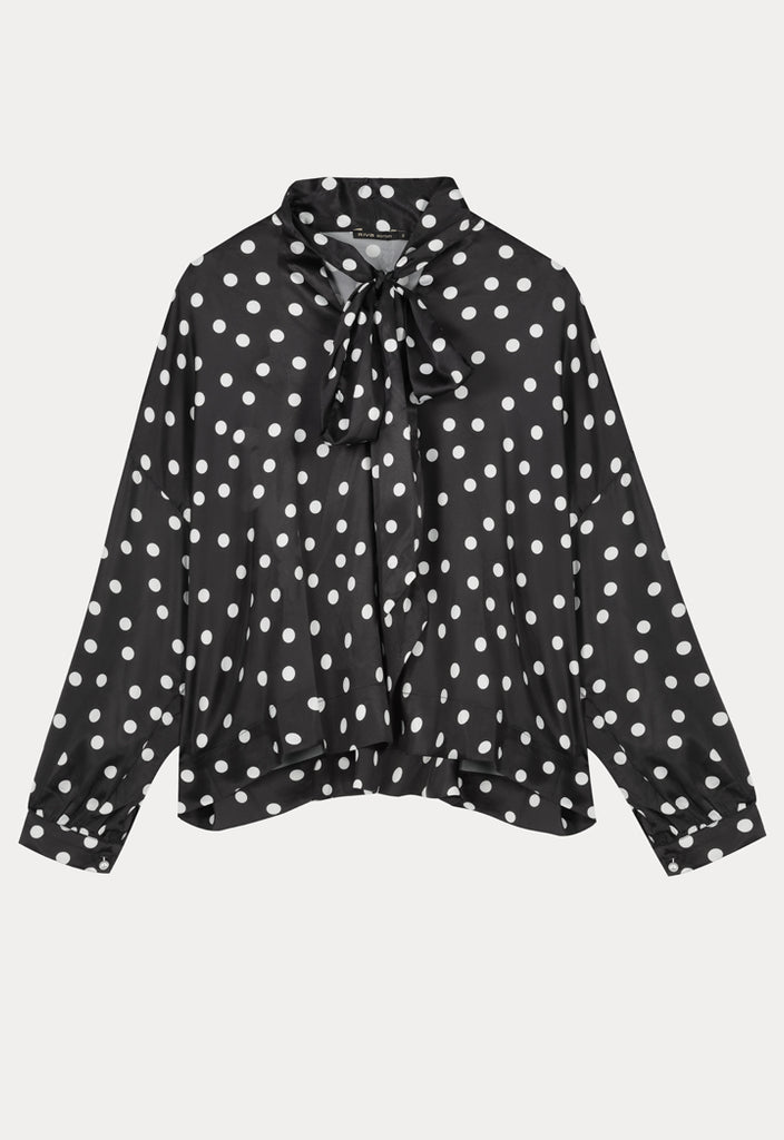 Satin Bow Polka Dot Blouse - Fresqa