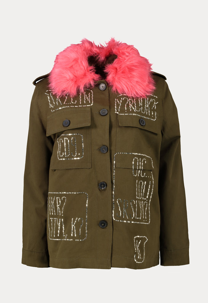 Embellished Fur Jacket - Fresqa