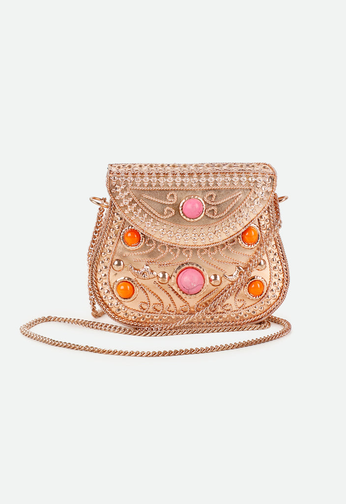 Indian Ethnic Gold Sling Bag - Fresqa