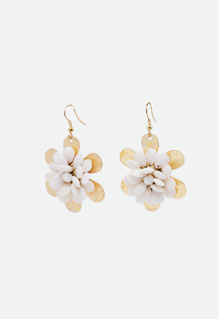 Floral Embellish Dangle Earrings - Fresqa