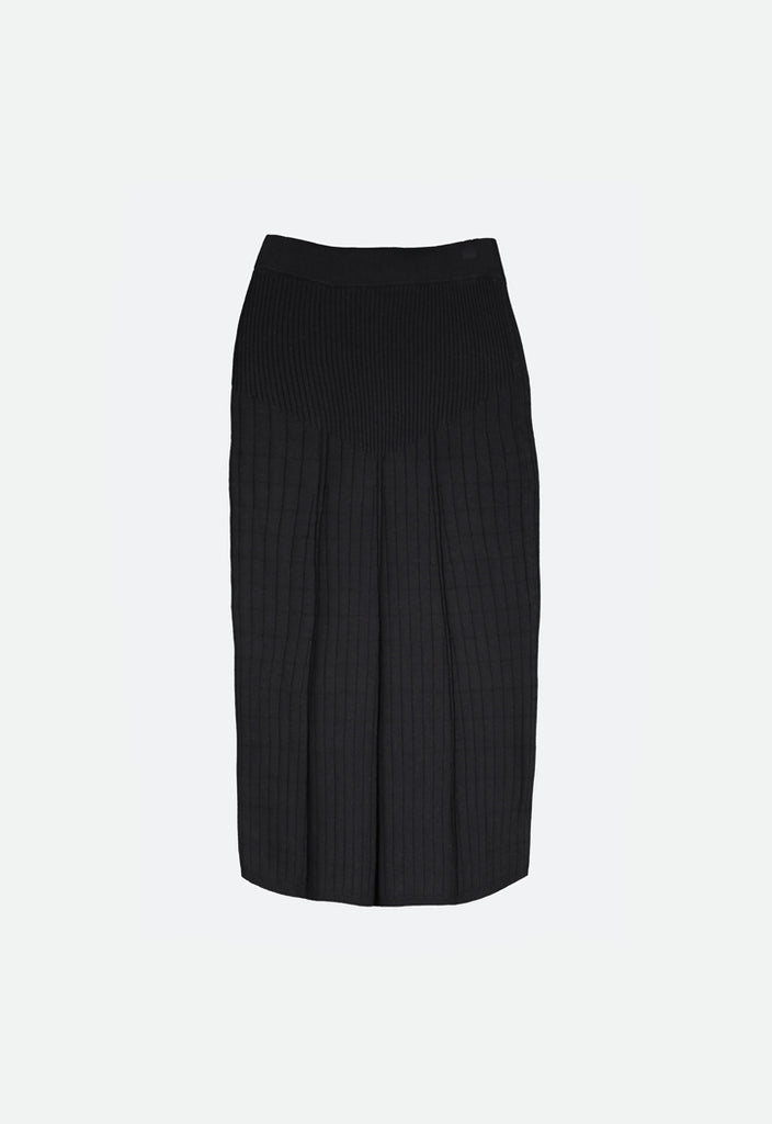 Ribbed Knit Midi Skirt - Fresqa