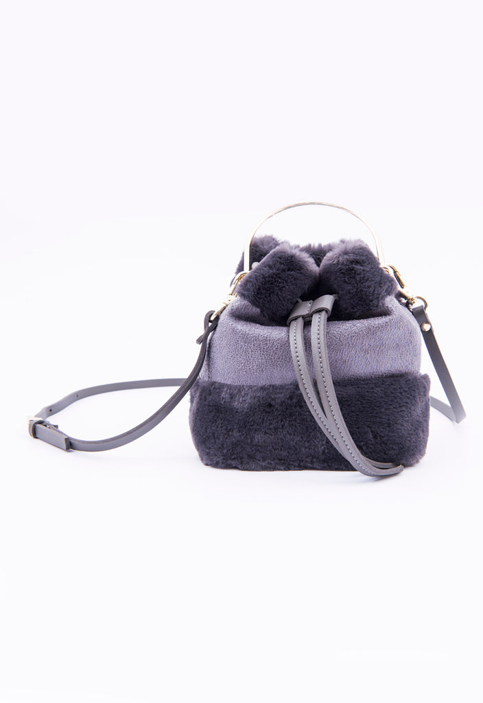 Fur Panel Handbag - Fresqa