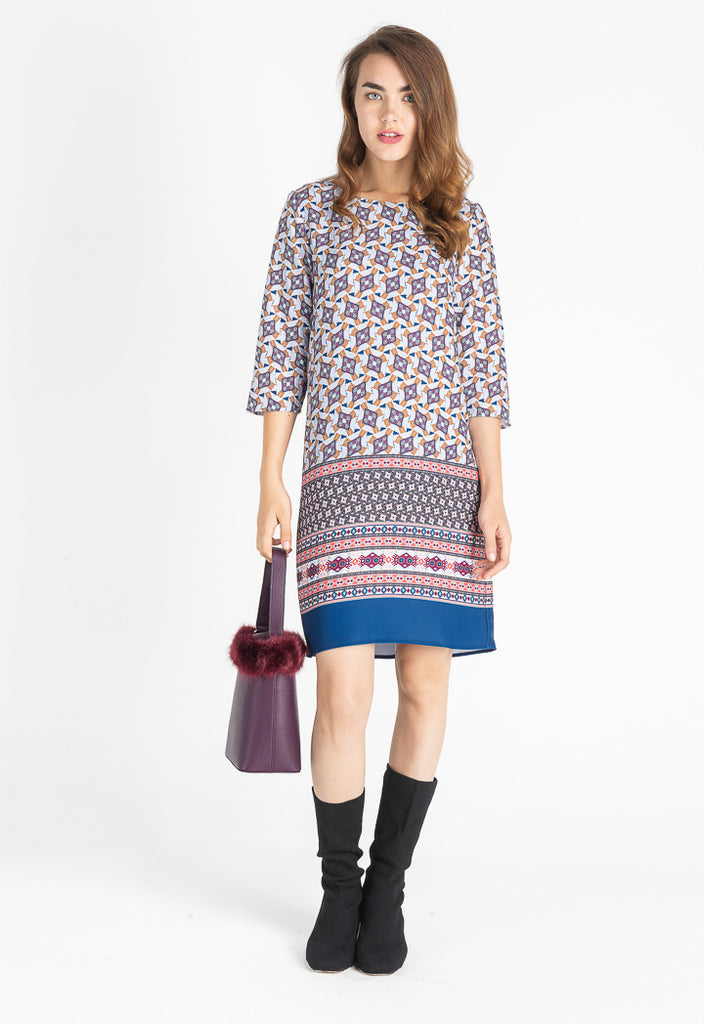 Multicolor Jacquard Mini Dress - Fresqa