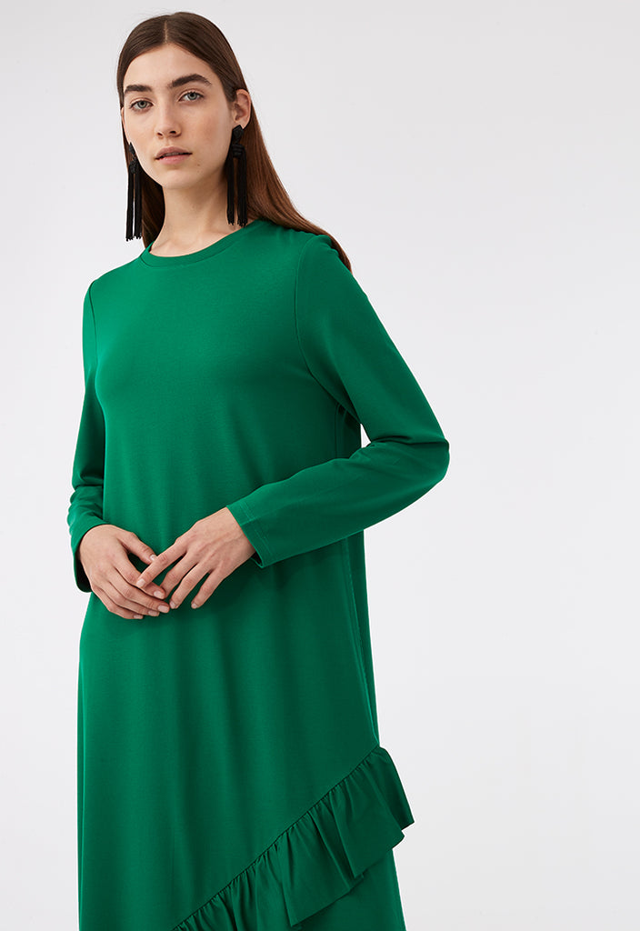 Frill Trim Overlap Hem Dress - Fresqa
