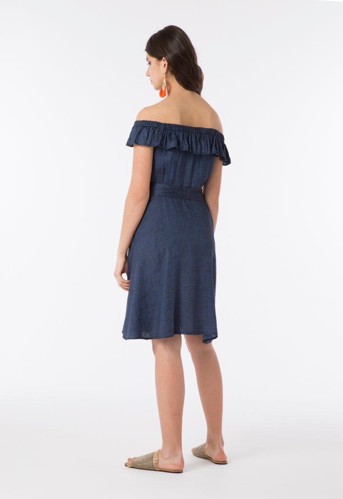 Striped Denim Dress - Fresqa