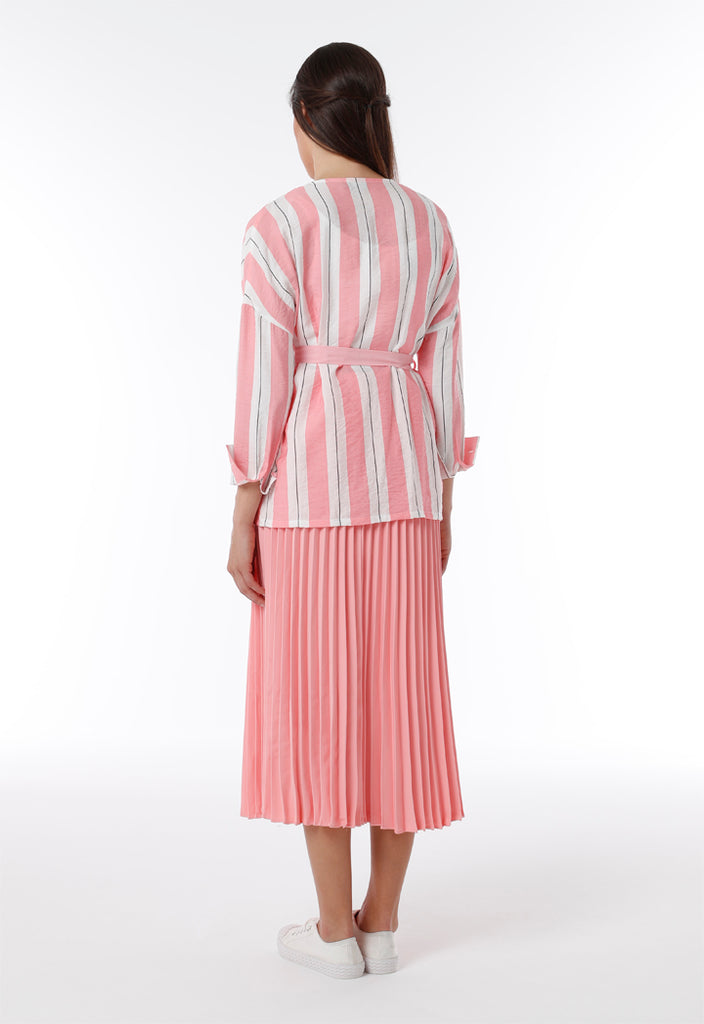 Striped Tie Waist Outerwear - Fresqa