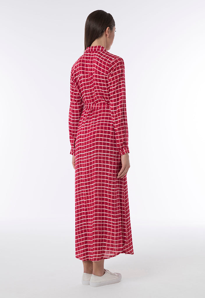 Checkered Print Shirt Dress - Fresqa