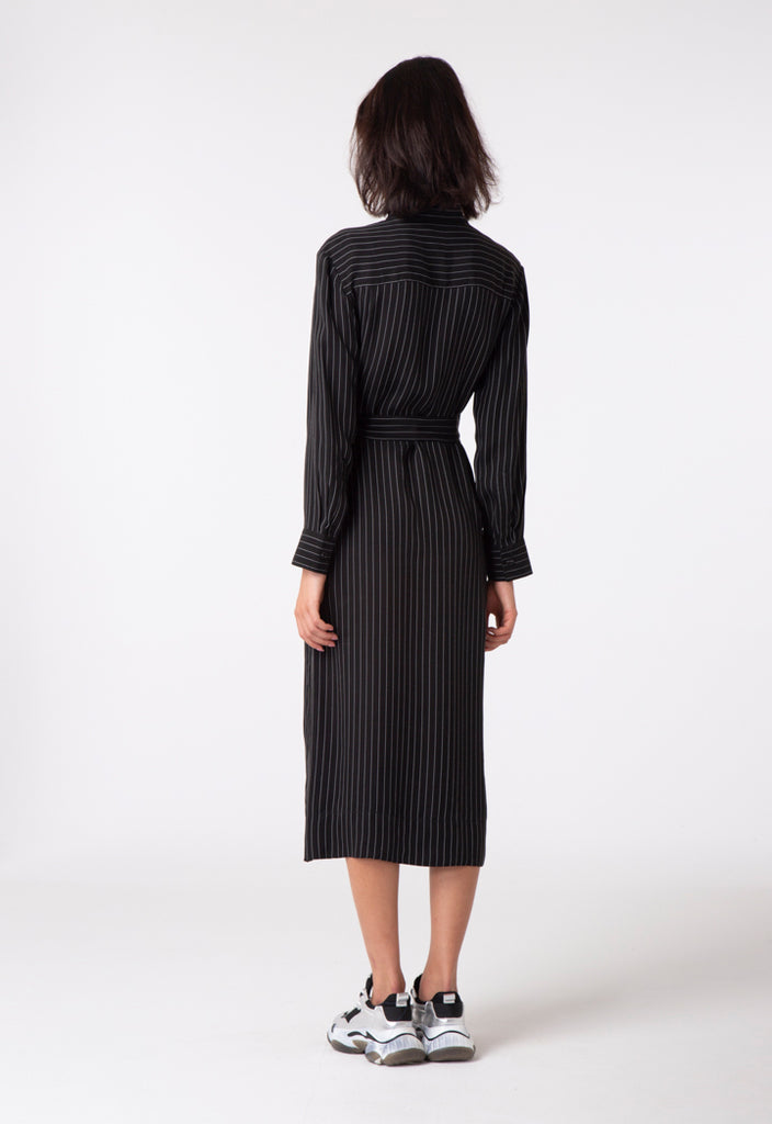 Vertical Striped Shirt Dress - Fresqa