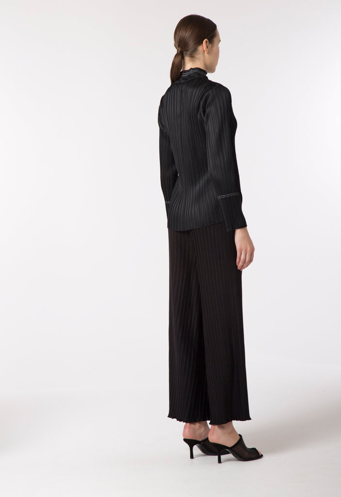 Black Electric Pleated Blouse - Fresqa