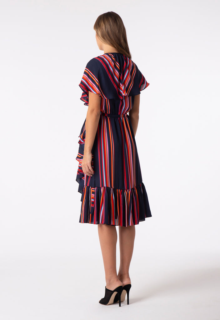 Ruffle Striped Wrap Dress - Fresqa