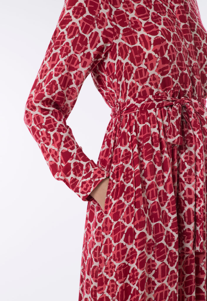 Geometric Print Shirt Dress - Fresqa
