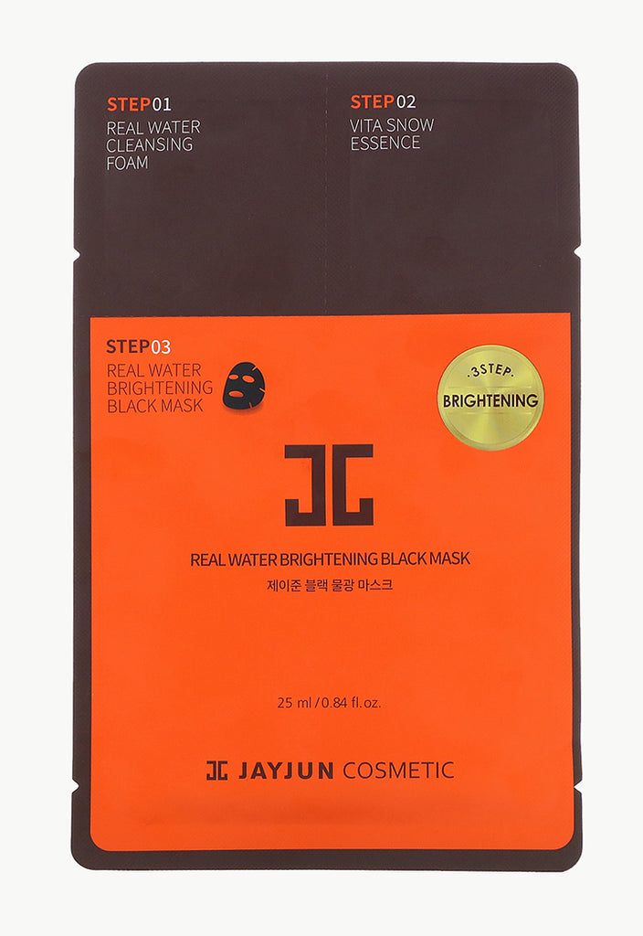 Jayjun Cosmetic, Real Water Brightening Black Mask, 3 Step Brightening - Fresqa