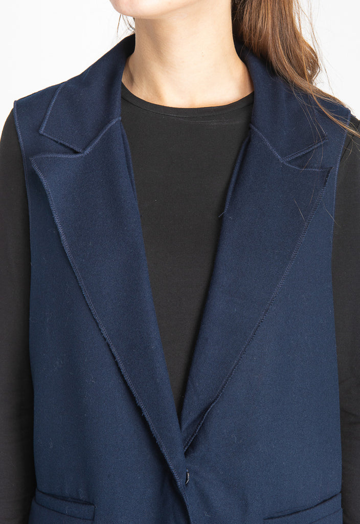 Navy Blue Sleeveless Jacket - Fresqa