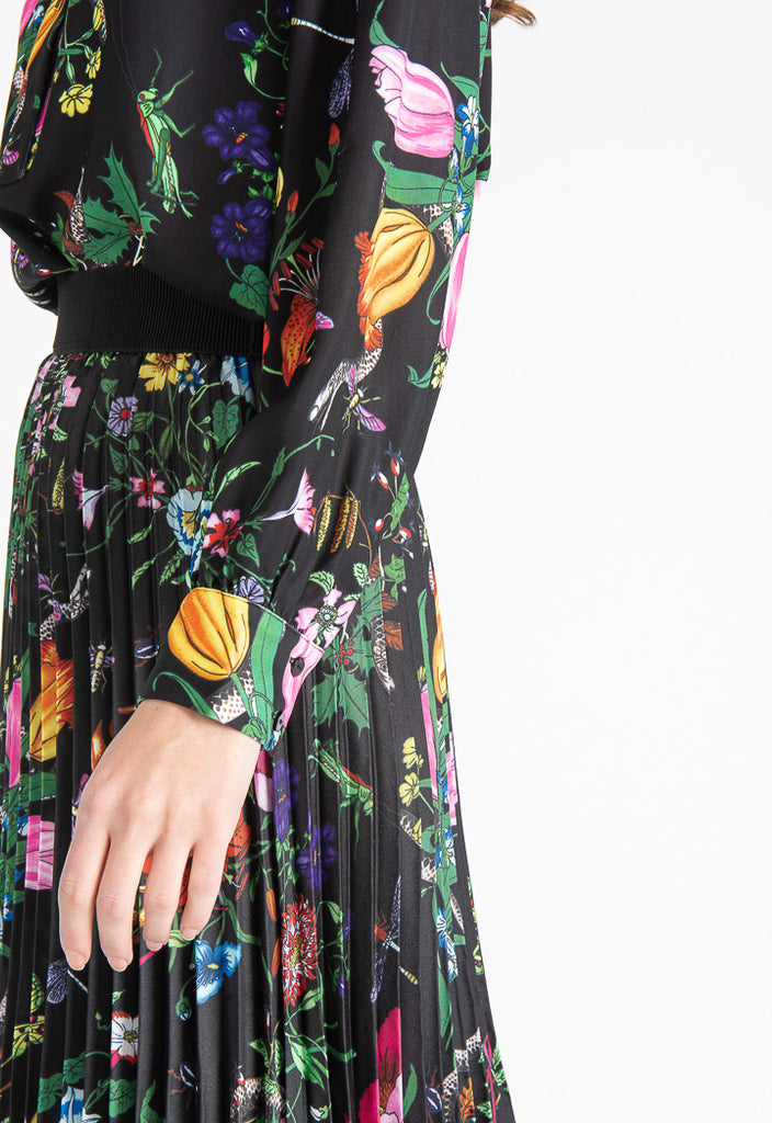 Painted Floral Black Blouse - Fresqa