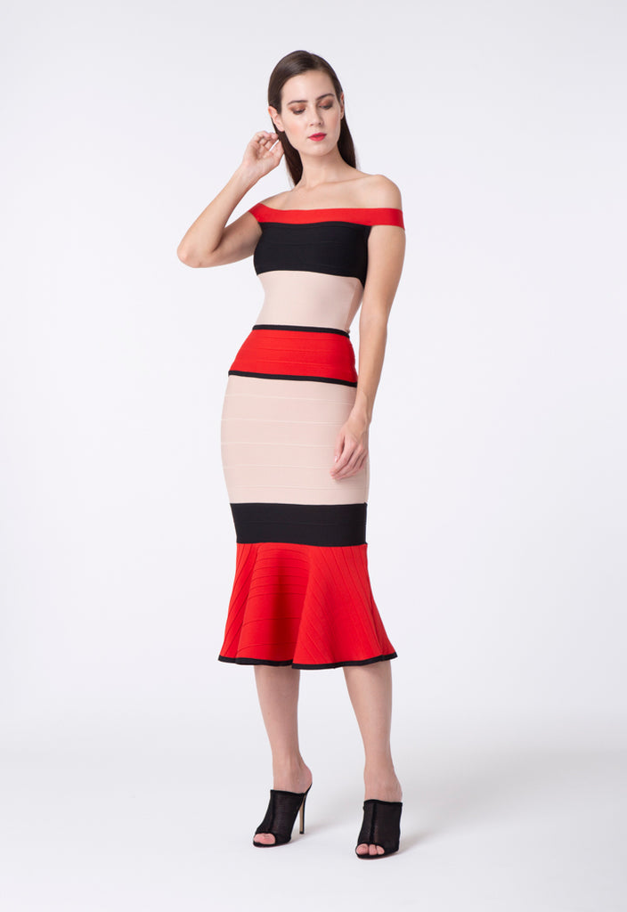 Color Block Mermaid Dress - Fresqa
