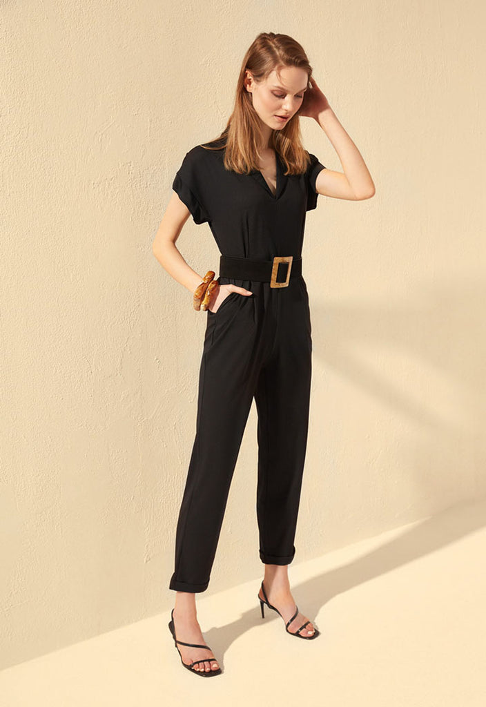 Dusty Rose Binding Jumpsuit - Fresqa