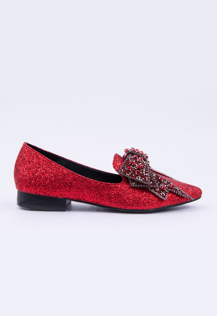 Glittered Ribbon Pointed Shoes - Fresqa