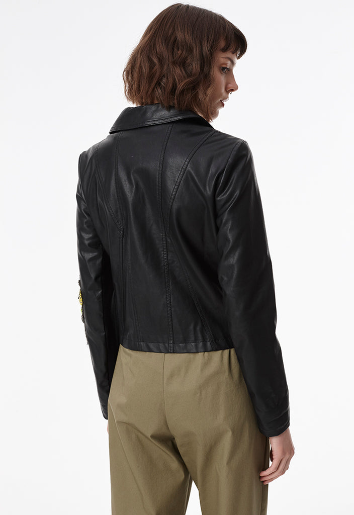 Embroidered Biker Jacket - Fresqa