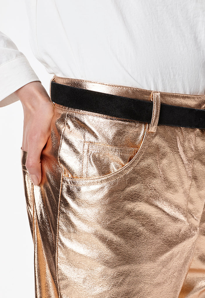 Metallic Coated Pants - Fresqa