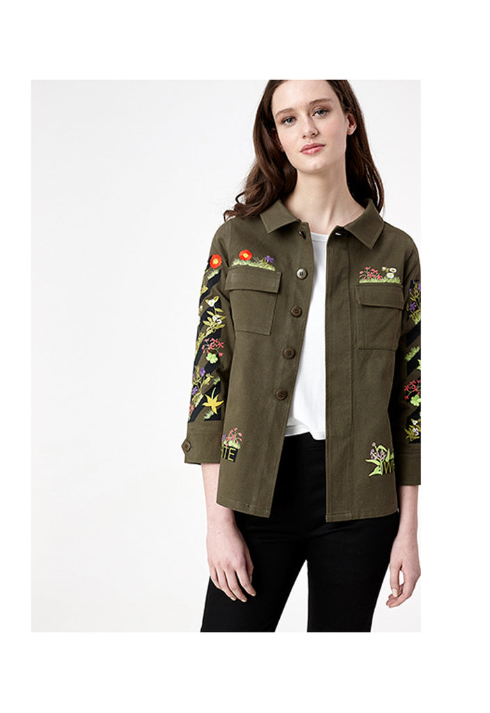 Khaki Embroidered Jacket - Fresqa