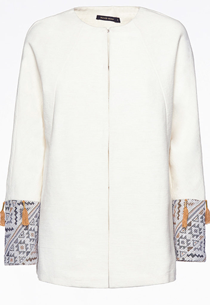 Off White Ethnic Jacket - Fresqa