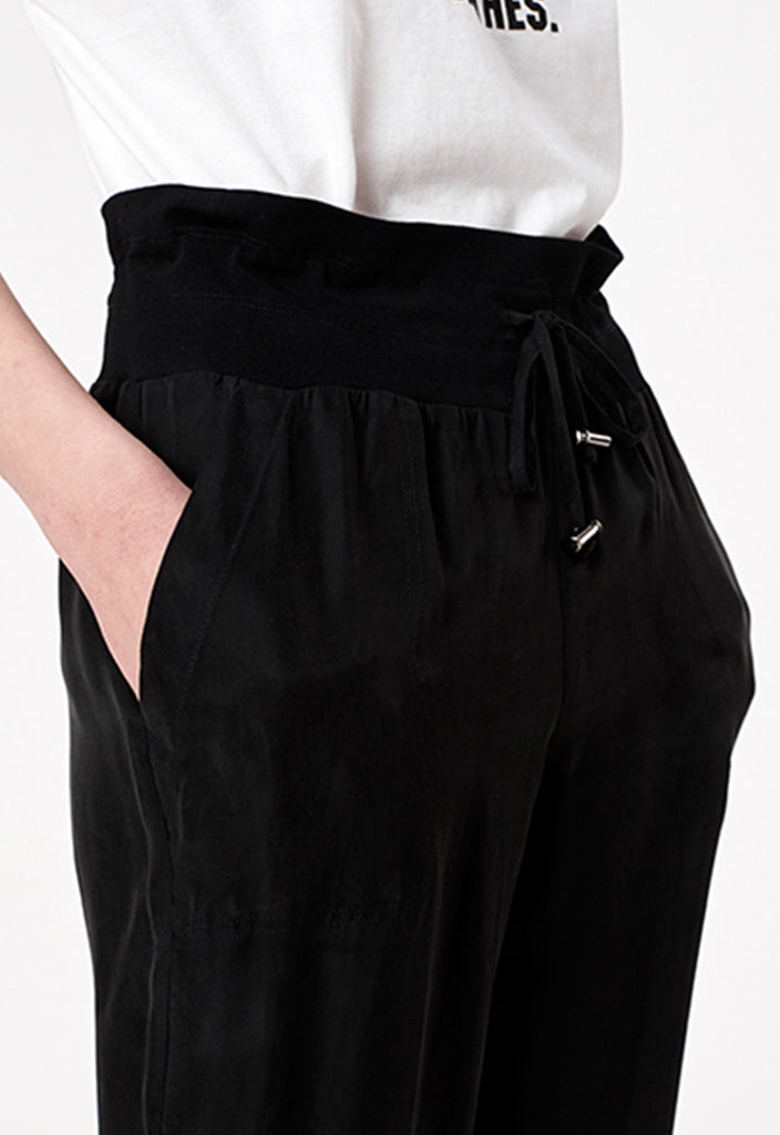 Black Tencel Track Pants - Fresqa