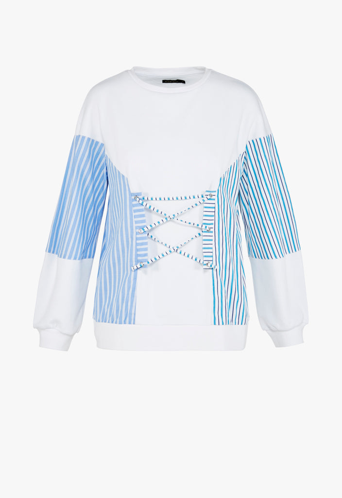 Lace-Up Stripe Sweatshirt - Fresqa